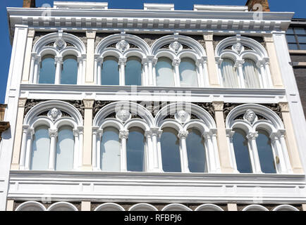 Ornate building facade, Westbourne Grove, Bayswater, City of Westminster, Greater London, England, United Kingdom - Stock Image