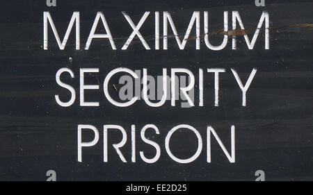 A 'Maximum Security Prison' sign at Robben Island, Cape Town, South Africa. where Nelson Mandela was held. - Stock Image