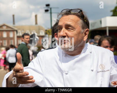 London, UK. 20th May, 2019. Raymond Blanc, chef, attends RHS Chelsea Flower Show Press Day which takes place before it officially opens tomorrow until Saturday 25th May. The world renowned flower show is a glamourous, fun and an educational day out which is attended by many celebrities. There are many gardens, floral displays, Marquees all set in the glorious grounds of The Royal Hospital Chelsea. Credit: Keith Larby/Alamy Live News - Stock Image