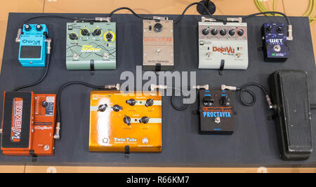 Guitar effect pedals at the Musical Instrument Museum, Phoenix, Arizona, USA - Stock Image
