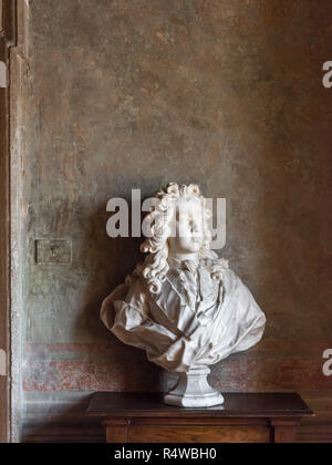 Marble Bust, Villa Medici, Rome, Italy - Stock Image