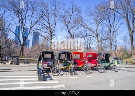 Central Park Rickshaws, New York City (NYC) - Stock Image