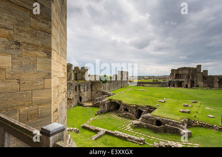 Warkworth Castle under Dark Skies - Stock Image