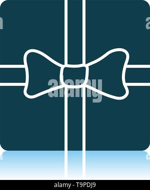 Gift Box With Ribbon Icon. Shadow Reflection Design. Vector Illustration. - Stock Image