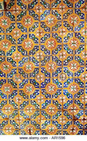 Wall Detail San Francisco Monastery, Lima, Peru - Stock Image