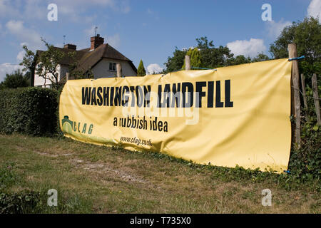 protest banner for landfill proposal site in West Sussex, England - Stock Image