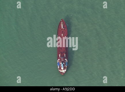 Near vertical aerial view of ship at sea in the English Channel - Stock Image