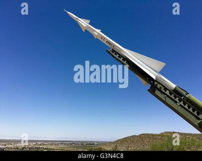 A Nike Ajax with launcher, surface to air missile at the New Mexico Museum of Space History in Alamogordo, New Mexico - Stock Image