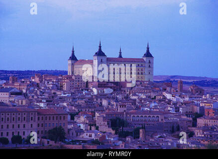 The Alcazar and night view of the city. Toledo, Spain. - Stock Image