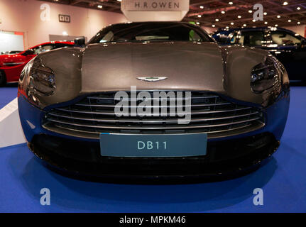Close-up front view of an Aston Martin DB11, on display at the H.R. Owen Stand, of the  2018 London Motor Show - Stock Image
