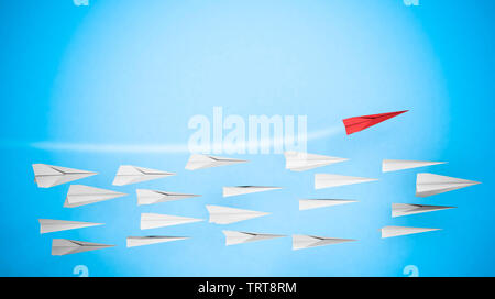 Business competition and Leadership concept with paper plane. 3D rendering - Stock Image