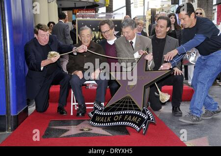 Los Angeles, CA, USA. 4th Feb, 2014. Brian Witten, Jack H. Harris, Larry Cohen, Leron Gubler at the induction ceremony - Stock Image