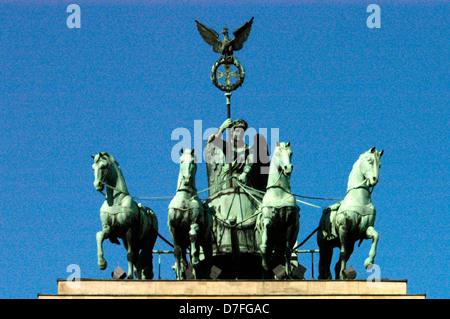 Europe, Germany, Berlin, the Brandenburg Gate, eastern side, quadriga from the front, Brandenburger Tor - Stock Image