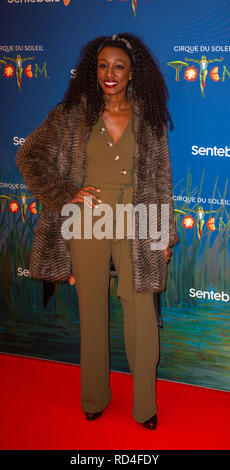 London, United Kingdom. 16 January 2019. Beverley Knight arrives for the red carpet premiere of Cirque Du Soleil's 'Totem' held at The Royal Albert Hall. Credit: Peter Manning/Alamy Live News - Stock Image