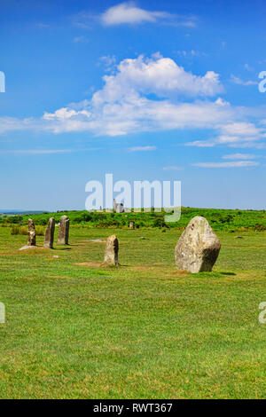 The Hurlers Stone Circle, Bodmin Moor, Cornwall, UK - Stock Image