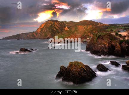 Sun set over Ilfracombe North Dorset, SW England, UK - Stock Image