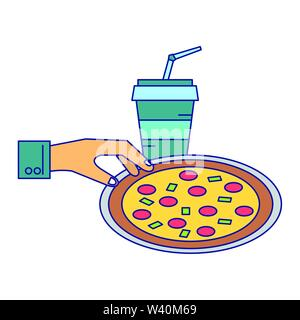 Pizza italian fast food with soda blue lines - Stock Image