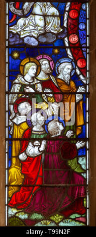 Victorian 19th century stained glass east window church of Saint Margaret, South Elmham, Suffolk, England, UK c 1888 Clayton and Bell - Stock Image