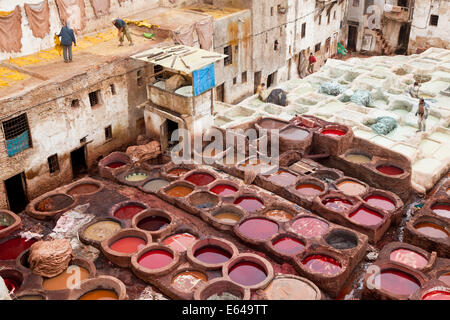 Medieval traditional tanneries of Fez Morocco - Stock Image
