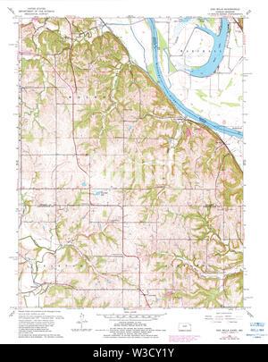 USGS TOPO Map Kansas KS Oak Mills 512138 1961 24000 Restoration - Stock Image