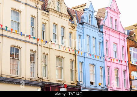 Colourful terraced houses in Hampstead of London - Stock Image