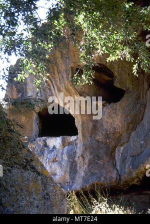 Pre-Nuragic Sardinia. Ozieri culture (3200-2700 BC). Necropolis of Sant-Andrea Priu. Domus de Janas, the chambers tombs. Bonorva, Sardinia, Italy. - Stock Image