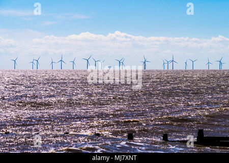 Gunfleet Sands wind turbine array, Frinton-on-Sea, Essex, England - Stock Image