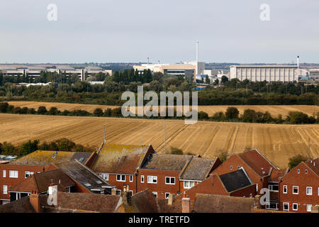 Aerial view looking Towards the  Discovery Park,  Taken from the top of the tower of St Peters Church, Sandwich, Kent - Stock Image