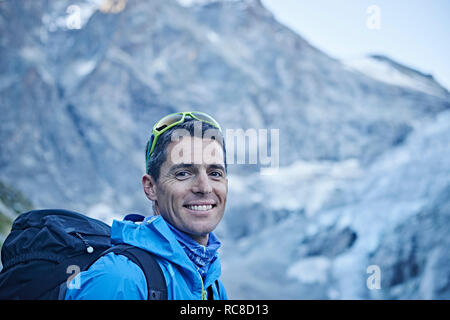 Hiker in Mont Cervin, Matterhorn, Valais, Switzerland - Stock Image