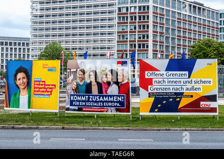 Flags & election posters at Ernst-Reuter-Platz. Charlottenburg, Berlin. The square is named after Ernst Reuter, mayor of West Berlin from 1948-1953 - Stock Image