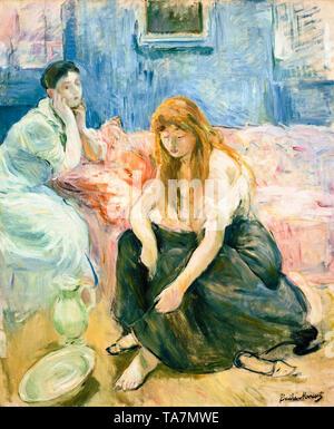 Berthe Morisot, Two Girls, portrait painting, c. 1894 - Stock Image