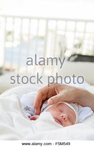 Sweden, Close-up of father stroking baby boy - Stock Image