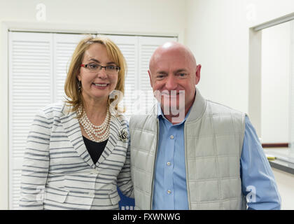 Garden City, New York, USA. 17th April 2016. GABBY GIFFORDS, former United States Congresswoman, and her husband - Stock Image