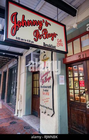 Johnny's Po-Boys restaurant sidewalk sign, street sign, New Orleans French Quarter, St. Louis St., New Orleans, LA, USA. - Stock Image