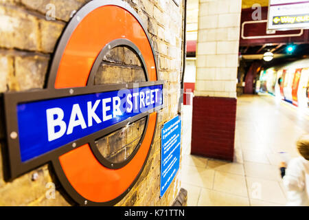 London Underground sign, London Underground Baker Street sign, Baker Street underground station sign, Baker Street underground station, Baker Street - Stock Image