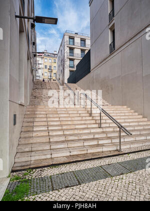Lisbon, Portugal - Steps, typical of those seen throughout Lisbon, a city built on seven hills. - Stock Image