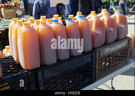 Jugs of fresh pressed apple cider for sale at a farmer's market. - Stock Image