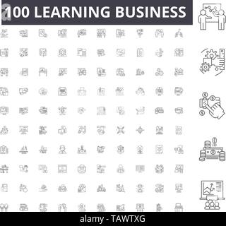 Learning business line icons, signs, vector set, outline illustration concept  - Stock Image
