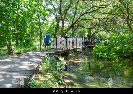 Crowds on the boardwalks in Krka National Park, Croatia. - Stock Image