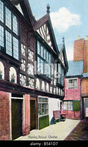 Old vintage picture postcard of Stanley Place Chester  EDITORIAL USE ONLY - Stock Image