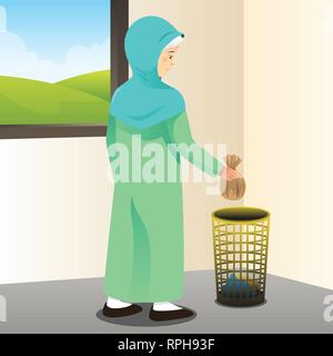A vector illustration of Muslim Woman Picking Up Trash - Stock Image