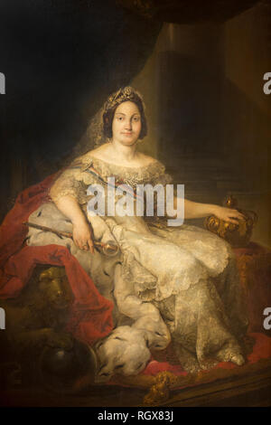 Huelva, Spain - July 02, 2018: Isabella II of Spain painted by Vicente López Portaña in 1848 at Museum of Huelva, Andalusia, Spain - Stock Image