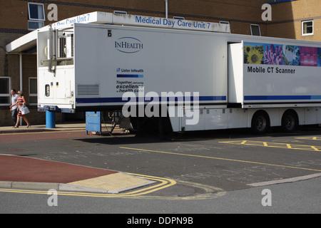 Mobile CT Scanner parked outside Chester Wing,Sunderland Royal Hospital - Stock Image