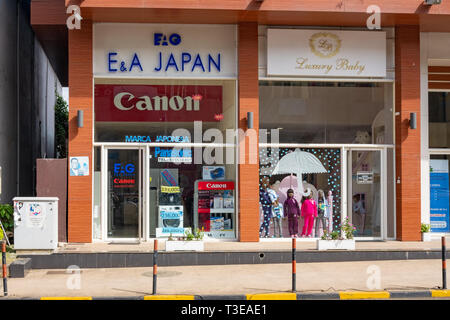 A store selling Japanese goods in Malabo, the capital of Equatorial Guinea, as an example of Japanse investment and business in Africa - Stock Image