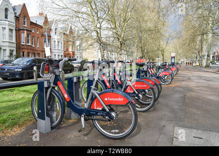 Parsons Green and Fulham London UK - Santander Cycles London's self-service cycle hire scheme for short journeys. - Stock Image