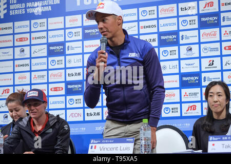 Elite Vincent Luis: May 16, 2019, Yokohama, Japan: Press Conference for the 2019 ITU World Triathlon and Paratriathlon Yokohama at the Monterey Hotel in Yokohama, Japan. The race will be held on May 18-19 2019 near Yamashita Park in Yokohama. Credit: Michael Steinebach/AFLO/Alamy Live News - Stock Image