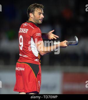 Krefeld, Germany, 12.06.2019, Hockey, FIH Pro League, men, Germany vs. Belgium: Sebastien Dockier (Belgium) looks on. - Stock Image