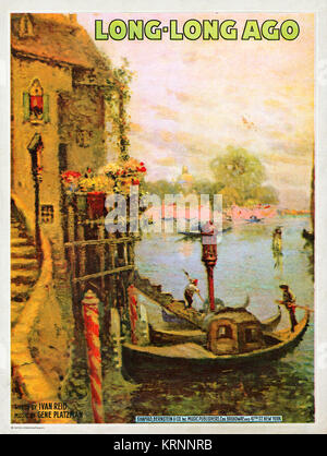 Venice, Long Long Ago, music sheet cover from 1919 of a Venetian canal scene with gondolas - Stock Image
