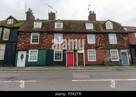 Partly tiled facade colour houses in Rye, East Sussex, England, UK - Stock Image