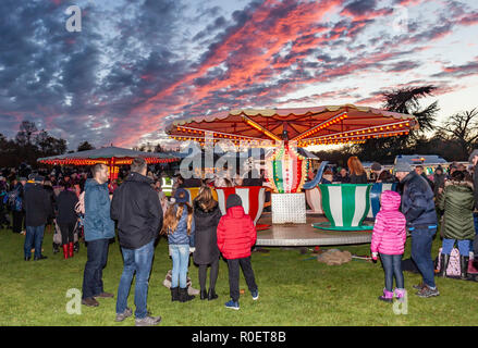 Leeds Castle, Kent, England, UK. 3rd November 2018.  The biggest firework display in the south east of England, Leeds Castle puts on a spectacular show including this childrens teacup ride. Credit: Tony Watson/Alamy Live News - Stock Image